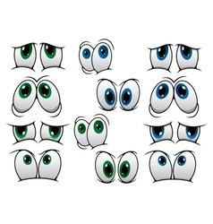 Blue and green cartoon eyes vector image vector image