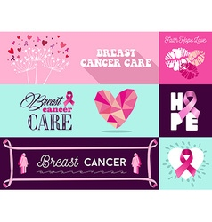 Breast cancer awareness campaign graphic elements vector image