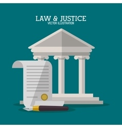Building and document of law and justice design vector