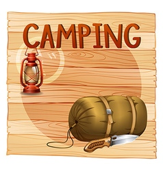 Camping gears with lantern and sleeping bag vector