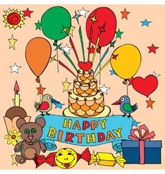 Card for birthday greetings vector image