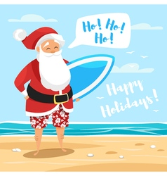 cartoon style of Santa surfer vector image