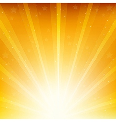 Colden Background With Sunburst And Stars vector image vector image