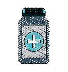 color crayon stripe cartoon remedy bottle with lid vector image vector image