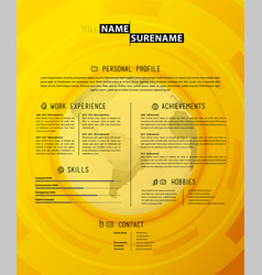 creative simple cv template on yellow background vector image