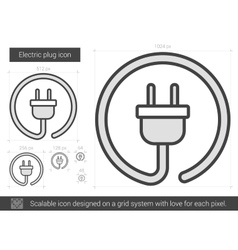 Electric plug line icon vector