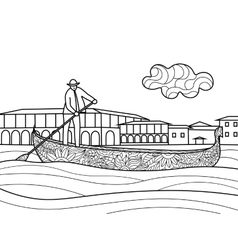 Gondola coloring book for adults vector