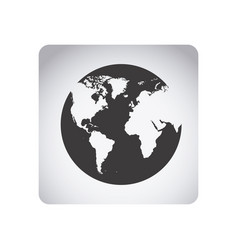 Gray emblem earth planet icon vector