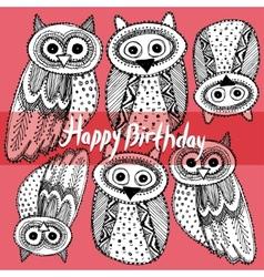 Happy birthday Decorative Hand dravn Cute Owl vector image vector image
