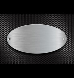 Metal brushed oval plate on perforated steel vector