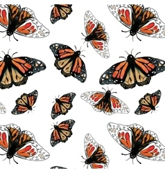 Monarch butterfly watercolor pattern vector
