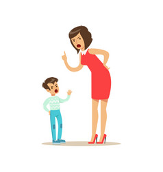Mother yelling at her son negative emotions vector