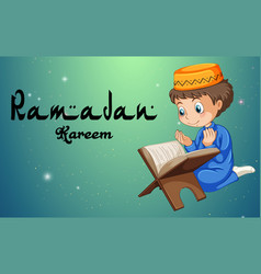 Muslim boy reading bible vector