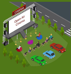 open air cinema concept 3d isometric view vector image vector image