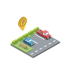 Parking place with bench and trashcan parking pin vector