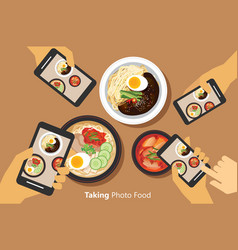 People take a photo of korean food with smartphone vector