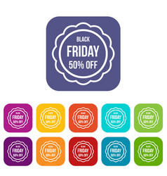 Sale sticker 50 percent off icons set vector