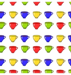 Seamless pattern with colorful tea mugs vector image vector image