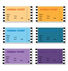 Set of Colored Cinema Ticket vector image