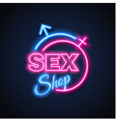 Sex shop neon sign gender man woman symbol vector
