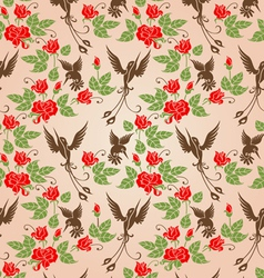 Shrub roses and birds vector