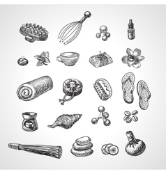 Spa and massage accessories set hand drawn vector