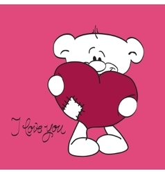 Teddy bear with heart and i love you text vector image vector image