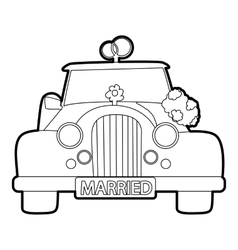 Wedding car icon outline style vector