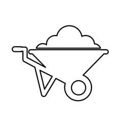 Wheel barrow isolated icon vector