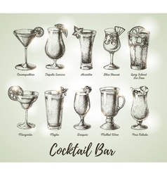 Vintage cocktail bar menu vector
