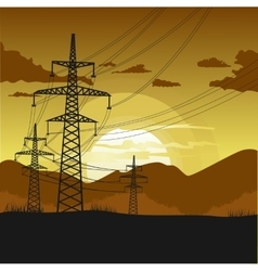 High voltage transmission towers vector