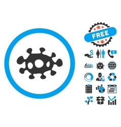 Virus flat icon with bonus vector