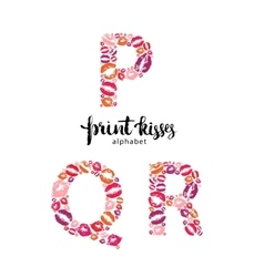 Set of letters p q and r made from print kisses vector