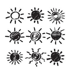 Set of hand drawn symbols of sun vector