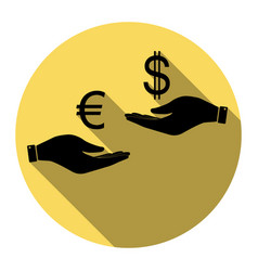 Currency exchange from hand to hand euro and vector