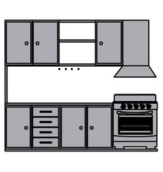 Grayscale silhouette of kitchen cabinets with vector