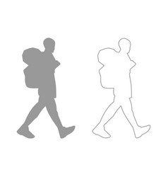 tourist the grey set icon vector image