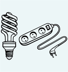 Energy saving light bulb and power surge vector image
