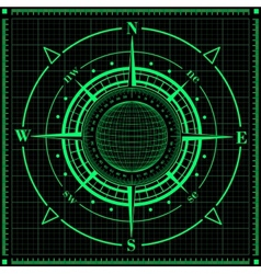 Radar compass rose with globe vector image