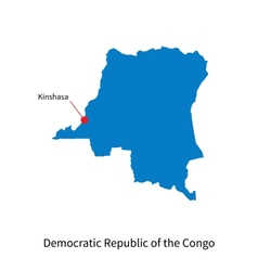 Detailed map of democratic republic of the congo vector