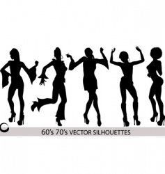 Dancing girl silhouettes vector