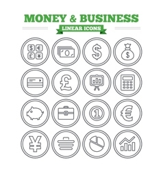 Money and business linear icons set thin outline vector