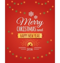 Merry christmas and happy new year 2016 postcard vector