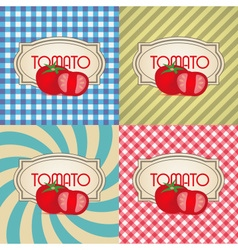 Four types of retro textured labels for tomato vector