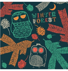 Vintage winter owl pattern vector