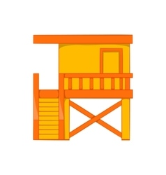 Rescue booth on the beach icon cartoon style vector