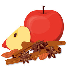 Apples almond and fragrant spices vector