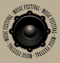 Banner for music festival with acoustic speaker vector