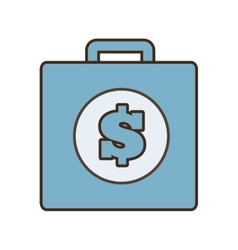 cartoon blue suitcase money business vector image