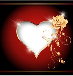 Decorative heart and golden rose vector image
